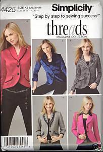 New 2000s Lined Jackets Threads Simplicity 4425 Bust 32 34 36 38 Sewing Pattern Simplicity New Look