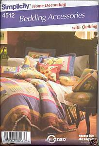 New Jane Beus Quilted Bed Throw Pillow Bed Skirt Simplicity 4512 Pattern Simplicity