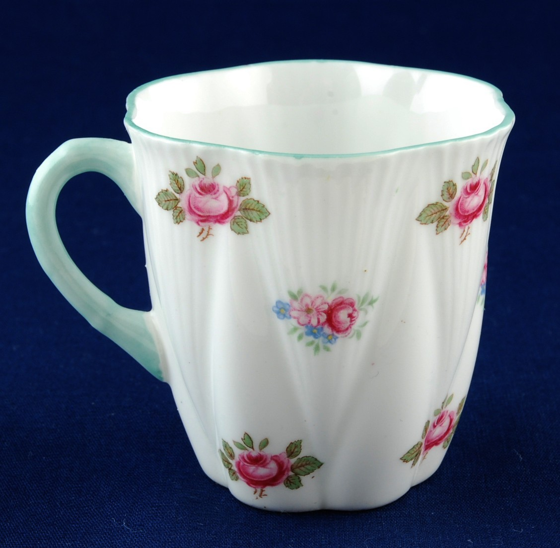 Shelley Rosebud Demitasse Cup w Gold Handle Dainty Shape 12426 Rd 272101 Mint
