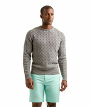Vineyard Vines NWT Size XXL Gray Wool Cashmere Cable Crew Sweater - $114.00