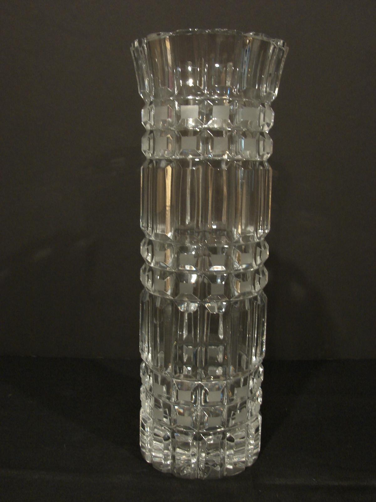 Stunning, Tall, Vtg. U.S.S.R Made Crystal Vase Hand Cut~Cobblestone Squares - $60.00