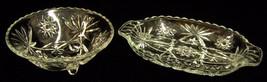 Pair 2 Vintage Clear Glass Relish Dish Bowls Ob... - $15.83