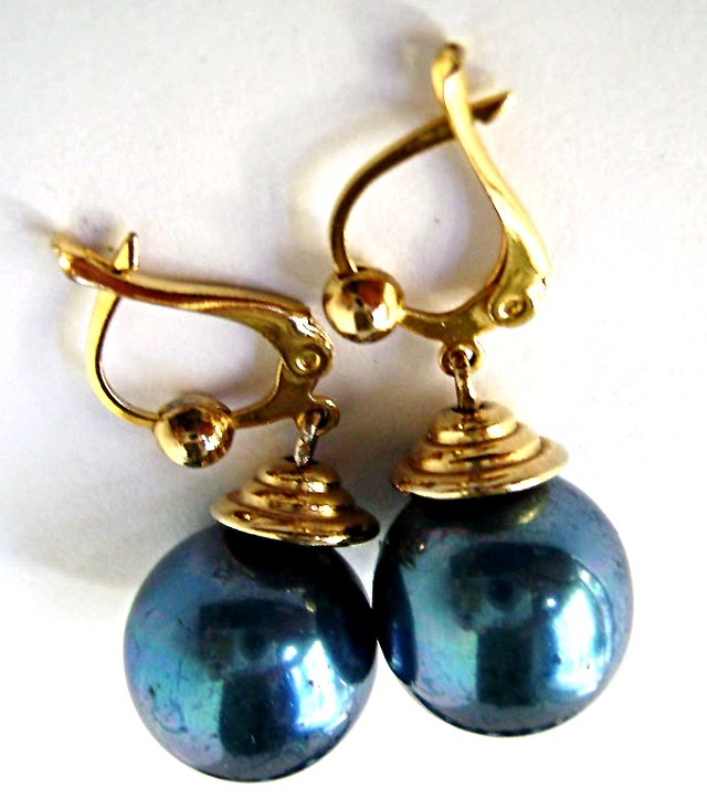 Vintage French Teal Blue Glass Pearl Gold Plated Necklace Earrings
