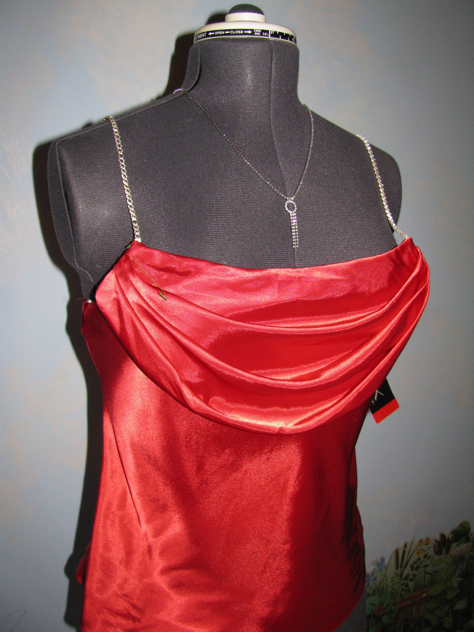 Onyx Nite Red Drape Satin Rhinestone Spaghetti Straps Top/blouse SZ L NWT
