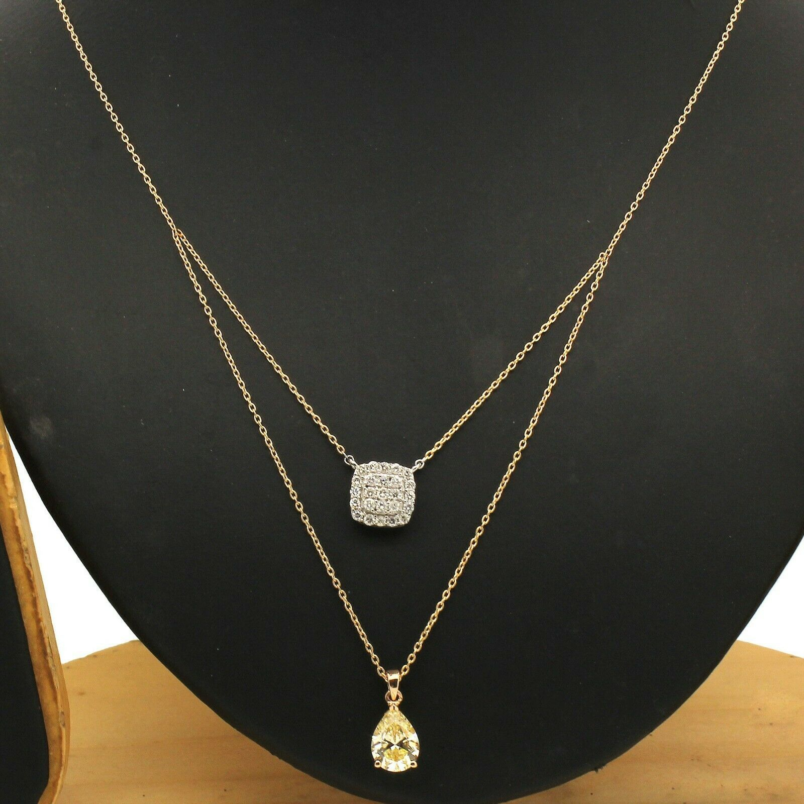 0.10 CT Round Cut simulated Diamond 4 Prong Solitaire Pendant Necklaces 10K Yellow Gold