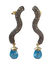 Victorian 2.10ct Rose Cut Diamond Blue Topaz Pretty Wedding Earrings - $491.91