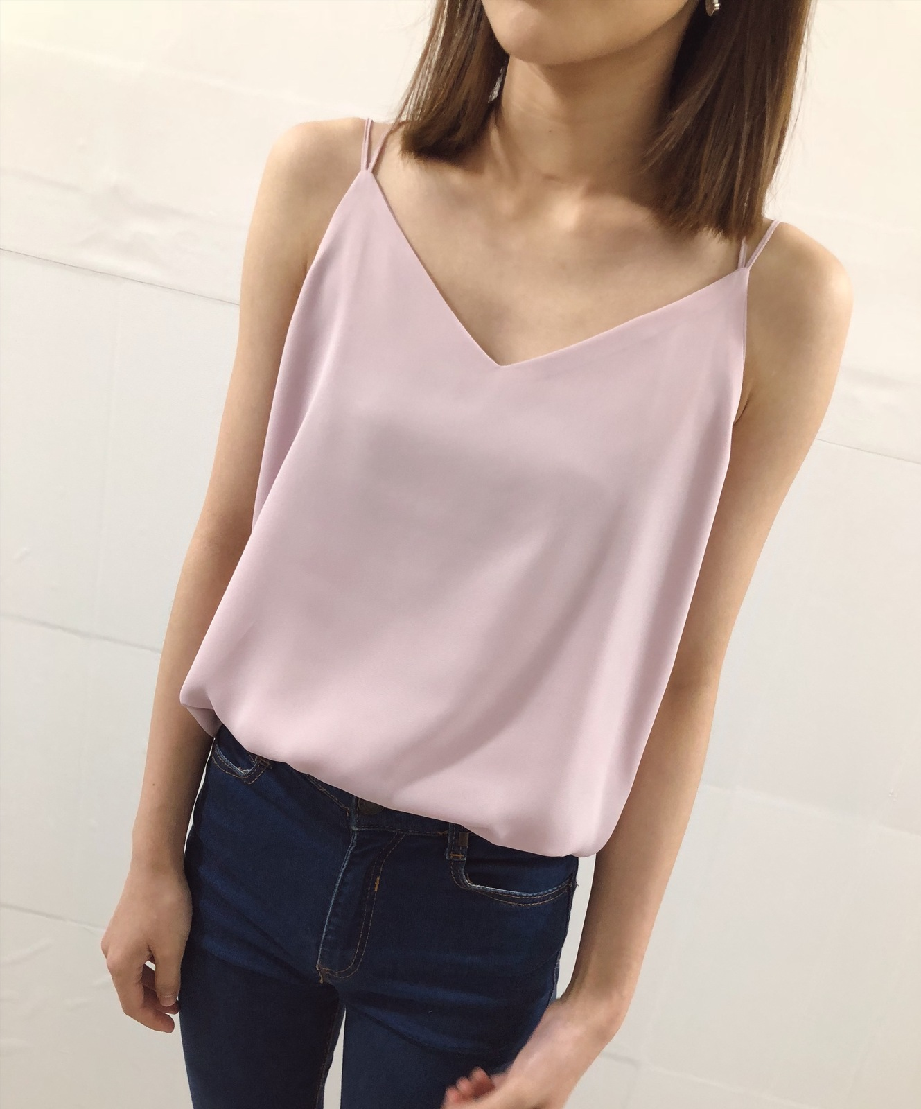 Plum Pink V-neck Summer Tops Sleeveless Chiffon Wedding Bridesmaid Tops Petite