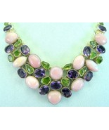 Pink Peruvian Opal with Amethyst and Peridot St... - $342.97