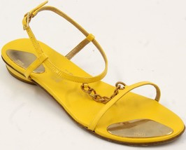 Stuart Weitzman T-Strap Gold Chain Yellow Patent Leather Women's Sandals... - $55.57