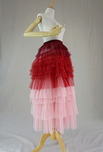 Tiered Long Tulle Skirt Red Pink High Waisted Layered Tulle Skirt Party Outfit image 2