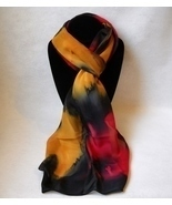 Hand Painted Silk Scarf Gold Black Red Oblong Womens Unique Hair Head Ne... - £40.98 GBP