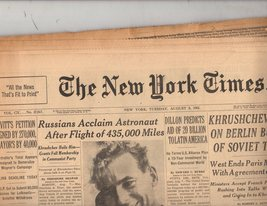 The New York Times 8/8/61  Tuesday  August 8,1961 - $6.95