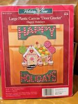 Christmas HAPPY HOLIDAYS Gingerbread House Plastic Canvas Kit Door Greet... - $11.05