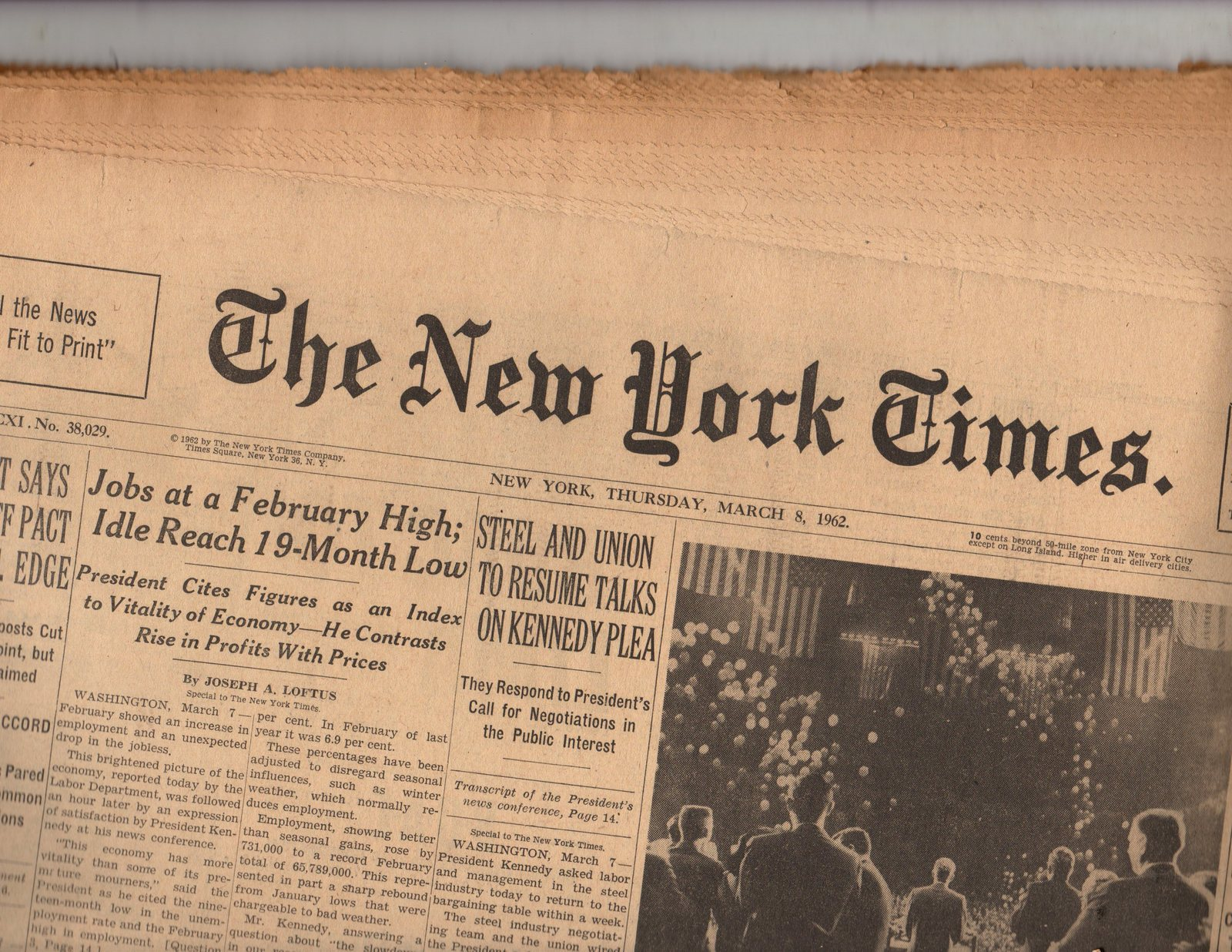Primary image for The New York Times March 8,1962