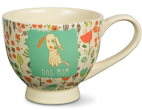 "Pavilion Gift Company 54006""A Mother's Love-Dog Mom"" Floral Soup Bowl Mug, Teal,"