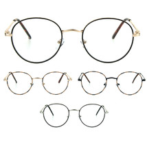 Classic 90s Metal Rim Round Oval Clear Lens Eye Glasses Frame - $9.95