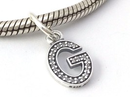 Authentic Pandora Sterling Silver Initial Letter G with CZ Charm 791319C... - $34.19