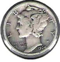 Nice 1934 P Mercury dime  - $4.00