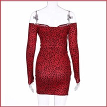 Red Leopard Portrait Off Shoulder Long Sleeve Stretch Wrap Mini Dress image 2