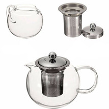 600/950/1300ml Clear Stainless Steel Heat Resistant Glass Teapot Infuser... - $18.22