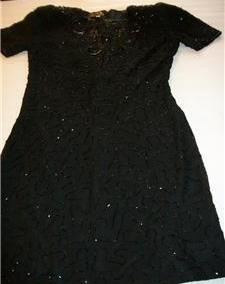 WOMEN LIFE & STYLE BEADED BLACK EVENING DRESS M MEDIUM Attention