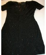 WOMEN LIFE & STYLE BEADED BLACK EVENING DRESS M MEDIUM - $17.99