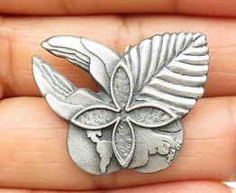 925 Sterling Silver - Vintage Dark Tone Petite Floral Leaf Brooch Pin - ... - $31.99