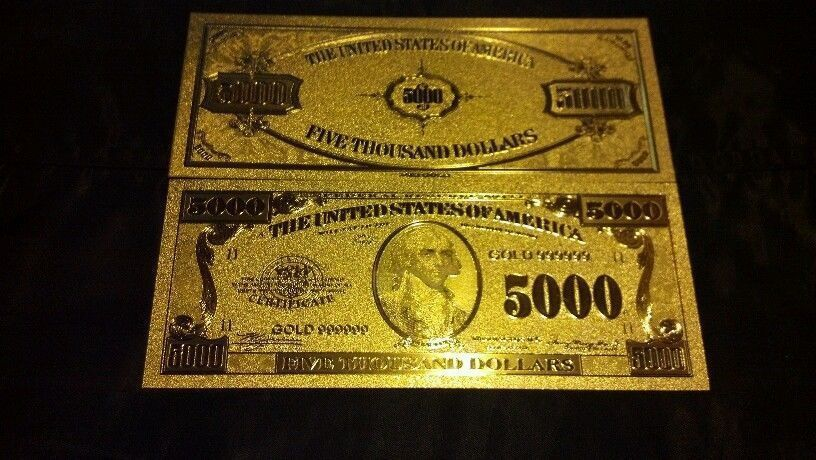 /<COMPLETE SET W//CERTIFICATE/>GOLD Banknote Set MINT Condition$1,$,5,10,20,50,$100