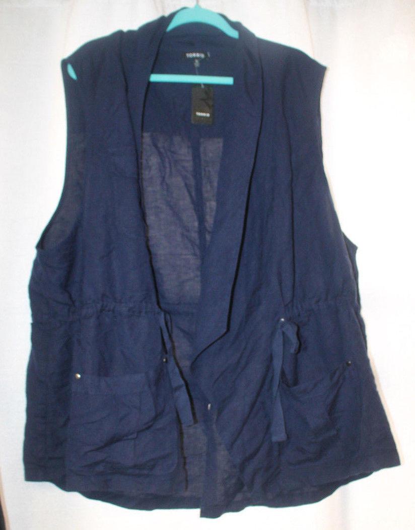NEW WOMENS PLUS SIZE 6X 6 TORRID NAVY BLUE  DRAPE FRONT UTILITY VEST - $29.02