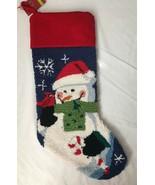 New Hooked Needlepoint Snowman Red Bird Christmas Stocking Red Velvet Ba... - $29.95