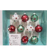 "Jingles & Joy Peppermint MINI Glass Aqua Red Christmas Ornaments 1.5"" BO... - $27.99"