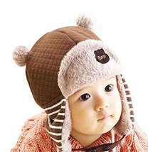 Cute Baby Warm Hat Cap Baby Ear Protection Hat Coffee, 2-4 Years