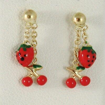 Baby Earrings in Yellow 750 18k Pendants, Strawberries Cherries Enamel, 15 MM