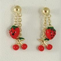 Baby Earrings in Yellow 750 18k Pendants, Strawberries Cherries Enamel, 15 MM image 1