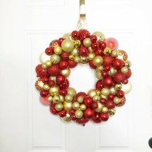 Elegant Christmas Ornament Wreath Handmade Red and Gold - $79.15