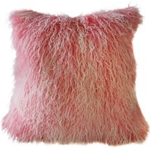 Pillow Decor - Mongolian Sheepskin Frosted Pink Throw Pillow - £57.42 GBP