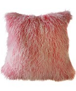 Pillow Decor - Mongolian Sheepskin Frosted Pink Throw Pillow - £58.20 GBP