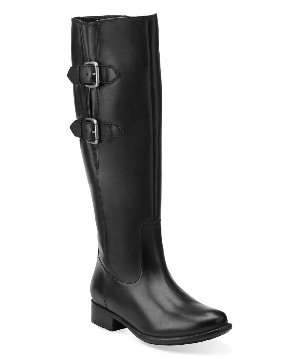 New Clarks Women Plaza Town Leather Riding Boots Black Size 8.5M