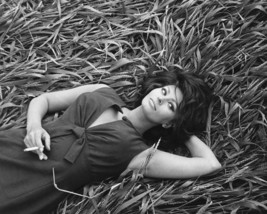 Sophia Loren 8x10 Photo awesome pose with cigarette lying back in grass - $7.99