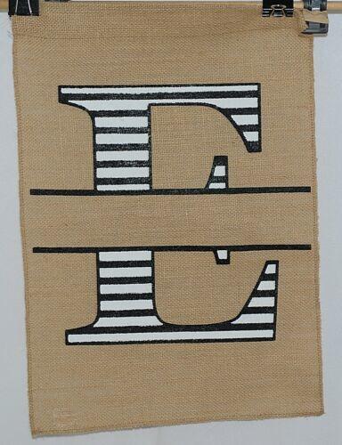Kate Winston Brand Brown Burlap Monogram Black And White E Garden Flag