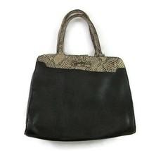 Jessica Simpson Black Faux Leather Purse Snakeskin Bow Shoulder Hand Bag - $20.78