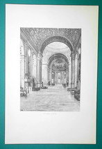 ITALY Mantua Interior Church of San Andrea by Alberti - 1888 Original Print image 2