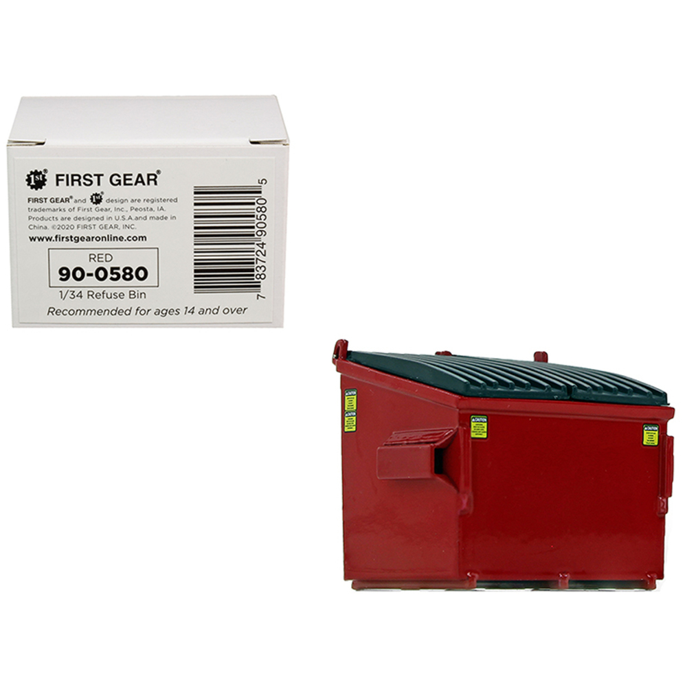 Primary image for Refuse Trash Bin Red 1/34 Diecast Model by First Gear 90-0580