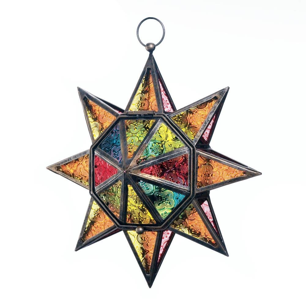 Decorative Lantern Candle, Hanging Multi-faceted Colorful Candle Holder Lantern