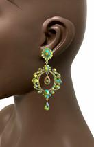 "3.5"" Iridescente AB Green Crystals Vintage Inspired Hoop Earrings Casual Chic - $20.90"