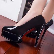 pp285 elegant candy color thick platform heels, US Size 4-10, black - $69.99