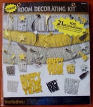 New 21 Pc Giant Room Decorating Kit Happy New Years Eve Party Silver Gol... - $14.89