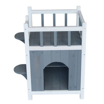 Cute Dog House Cat Litter Box House Small Pet Wooden Home Indoor Outdoor... - $48.61