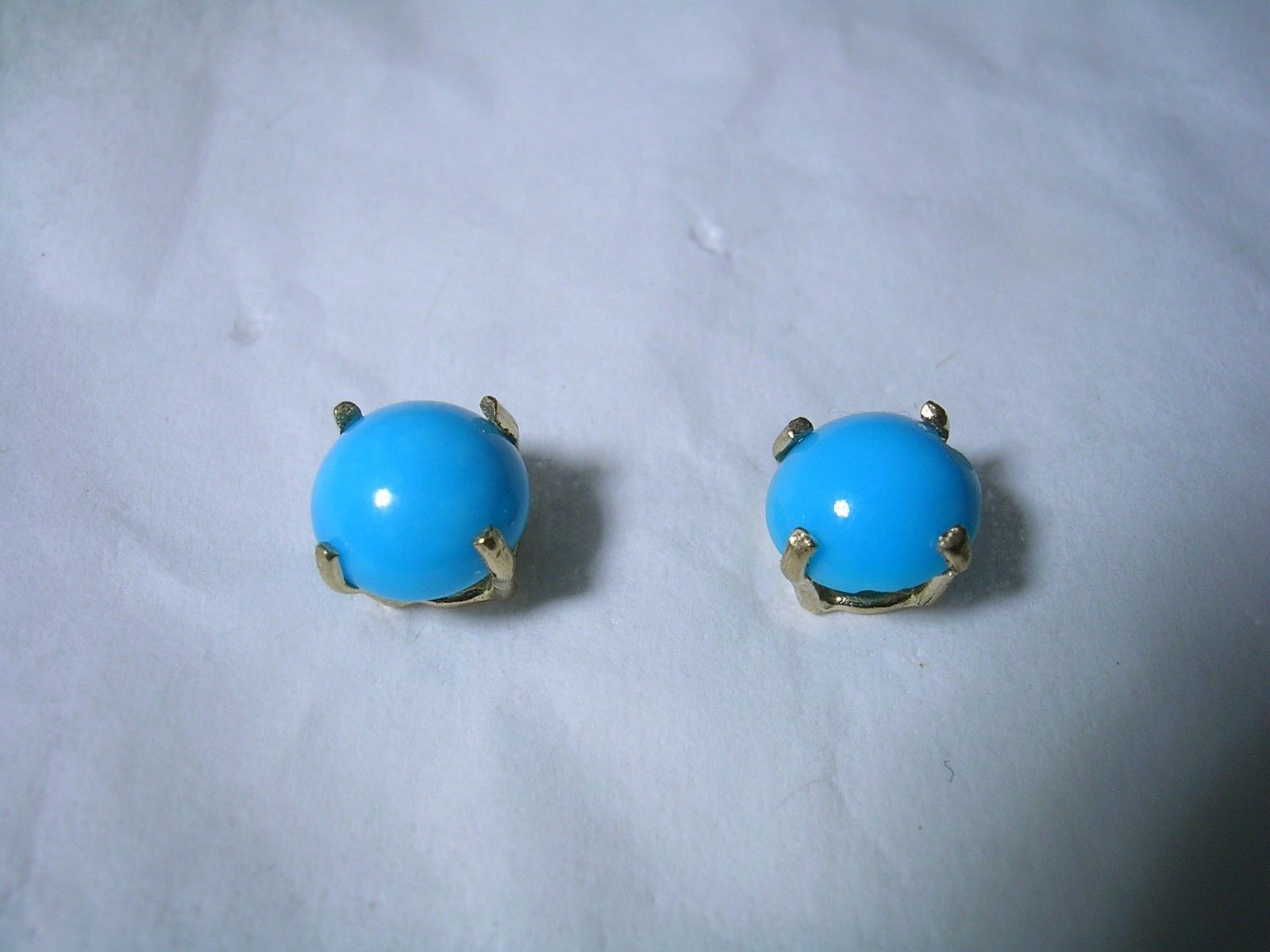 Primary image for TURQUOISE STUD EARRINGS SET IN A 10KT GOLD SETTINGS 4MM