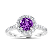 Platinum Amethyst Engagement Ring, With Diamonds Bridal Ring 1.54 Carat - $2,350.00